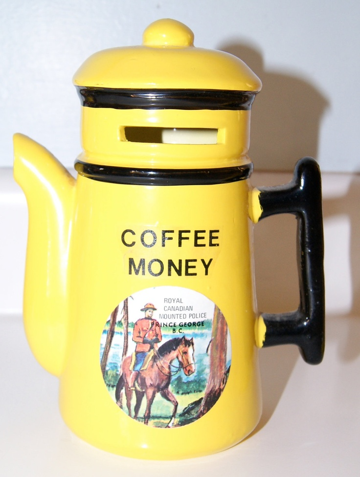 Coffee Money Bank - Bright Yellow - Royal Canadian Mounted Police Souvenir