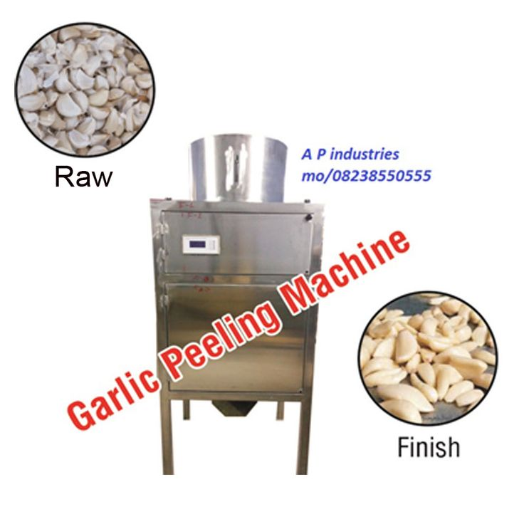 Garlic Peeling Machine  Dimension: L 700xW700xH1600mm Motor Power: 3 Phase, 2Hp Capacity: 30kg Per Hour Capacity: 50kg Per Hour Capacity: 100 Kg Per Hour More capacity available Requirement of an air Compressor  Phone: 094091 50555 Email: inquiry@garlicmachinesupplier.com