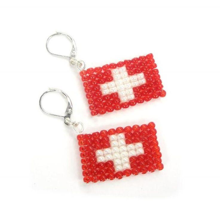 Ohrhänger Ohrringe - Flagge Schweiz - Miyuki Beads - WM - Fanartikel