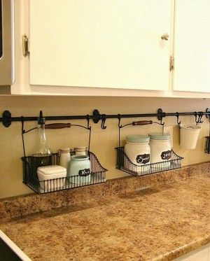 #25. Use your backsplash to store things that would otherwise be taking up valuable counter space!   29 Sneaky Tips For Small Space Living
