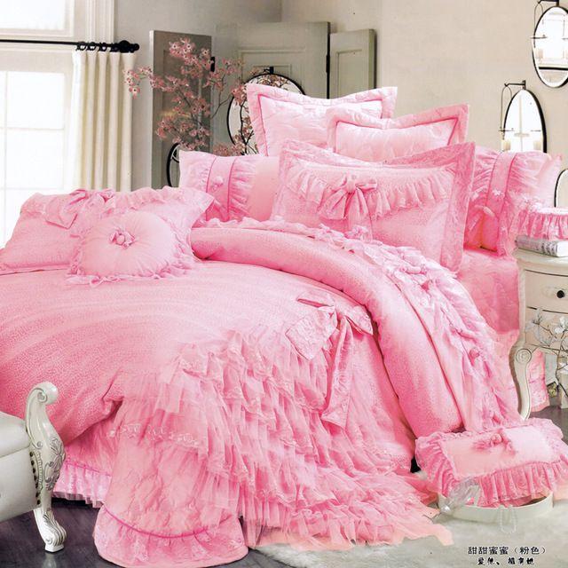 Luxo cama plissado bow, Romântico, Original princesa conjunto de capa de edredon, Rei, Rainha, 2 cor
