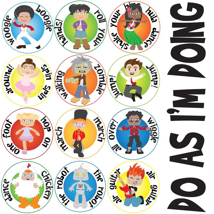 """susan fitch design: Do As Im Doing action cards - 12 DIFFERENT actions for Primary song """"Do As I'm Doing"""""""