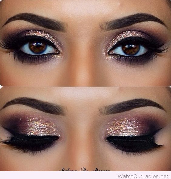 Amazing make-up for brown eyes with glitter. Vanessadokko.arbonne.com