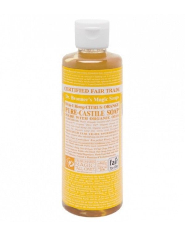Dr. Bronner's Flytende Såpe Citrus Orange, 236 ml. Få ting lukter så friskt som sitrus. De økologiske sitron- og limeoljene i denne såpen stimulerer huden, frisker opp kroppen og gir deg en oppkvikkende dusjopplevelse. Alle oljene og essensielle oljer er økologiske. Av mange regnet som verdens beste såpe. Meget drøy - bruk kun noen få dråper. Basert på Fairtrade ingredienser.