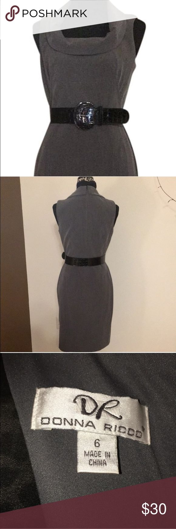 Donna Ricco Sleeveless Grey Cowl Neck Dress Beautiful grey sleeveless dress with full back zip. Cowl style neck and fitted design make this a perfect dress for work or play.  Belt that came with the dress included. Pair it with a black blazer for the office or a cute cardigan for a more casual look. Donna Ricco Dresses