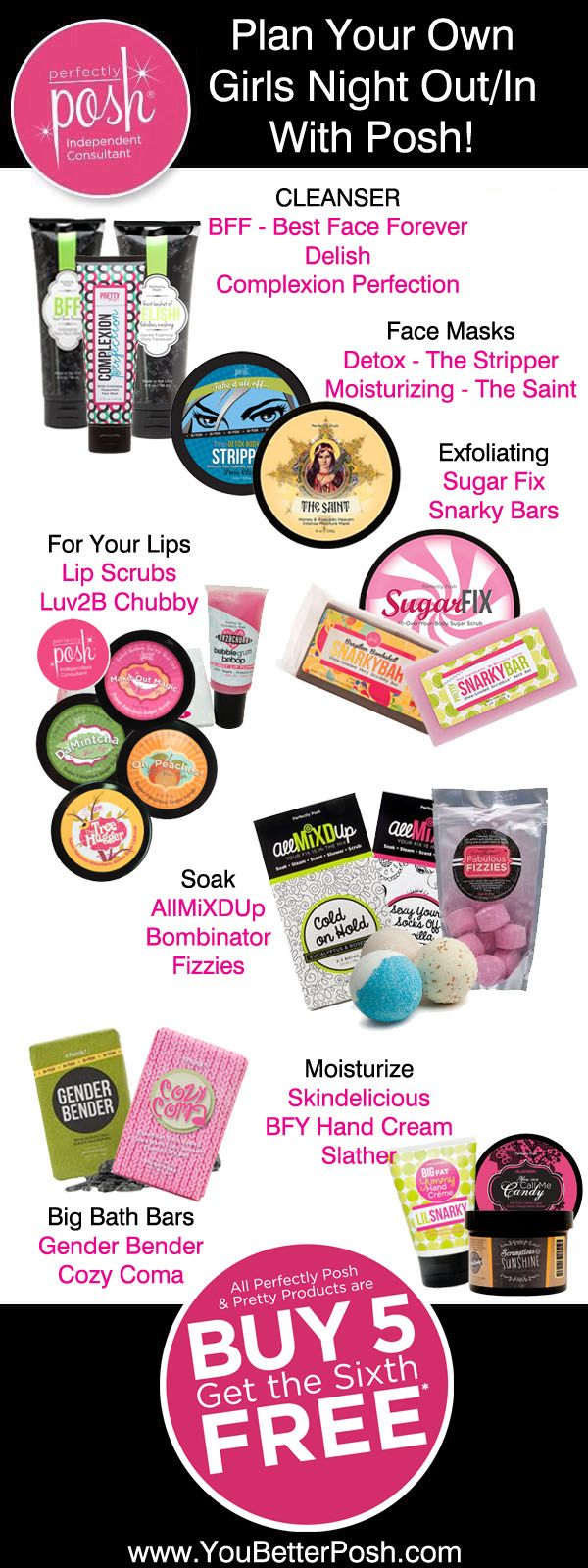 So many great products you can't go wrong. Mix & match your favorite items for a fun Girls Night Out (In) with Perfectly Posh!