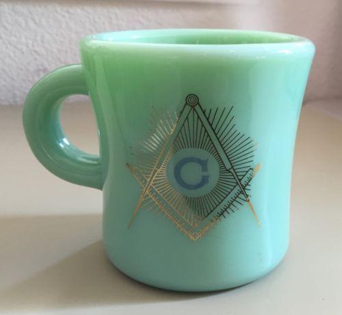 RARE Fire King Jadite Masonic Restaurant Ware G-212 C-Handle Extra Heavy Mug  in Pottery & Glass, Glass, Glassware, 40s, 50s, 60s, Anchor Hocking, Fire-King | eBay