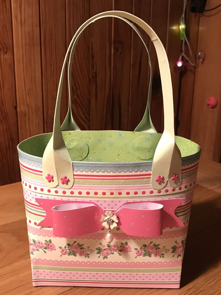 'Pretty in pink' pastel Easter bag with paper bow & jewel flower embellishment.