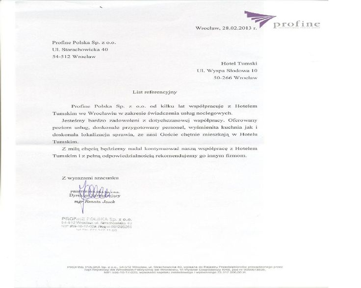 Recommendations of Profine company