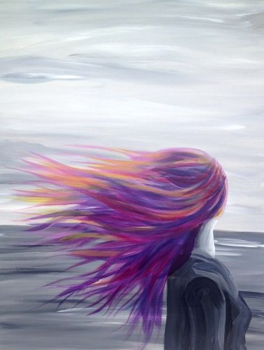 Woman's hair blowing in the wind. Peaceful stare off into the distance. Prophetic art.
