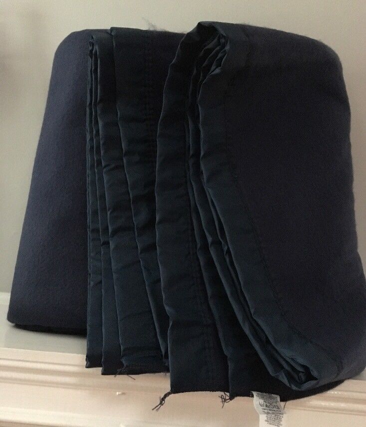 "Vintage King Size Acrylic Thermal Blanket 100"" X 90"" Navy Blue Appears Unused #Unbranded"