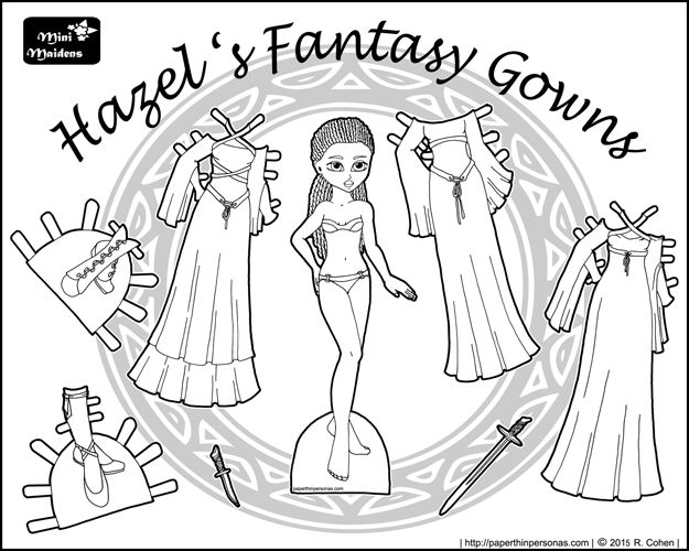black and white black printable fantasy paper doll with braids