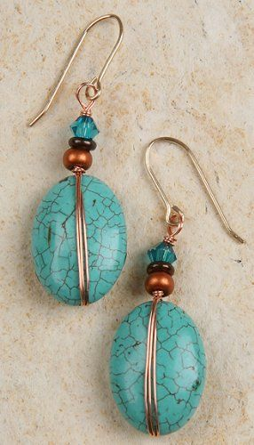 Earrings - Turquoise with Copper Wire Wrap - Turquoise Color Will Vary