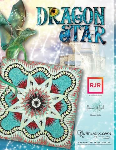 Judy and Brad Niemeyer designed the layout, instructions, and foundation papers for the Dragon Star. A collection of batiks designed by Flaurie & Finch with RJR called Blossom Batiks were selected to