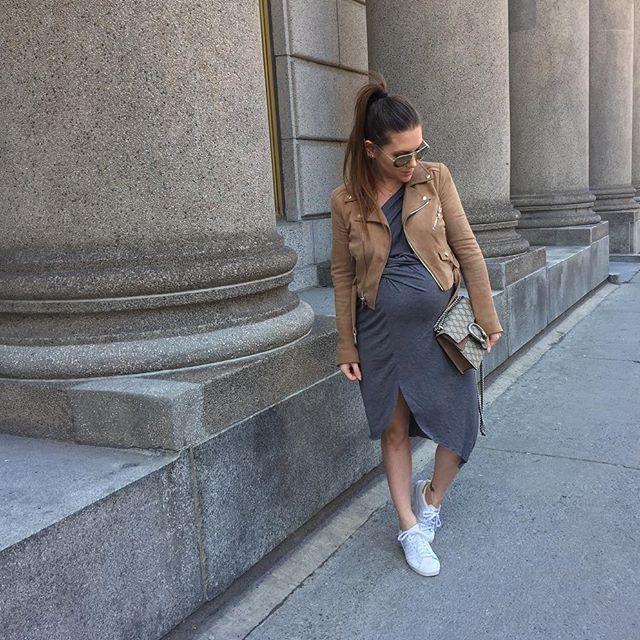 Photo by @melissasoldera - Sunny Sunday☀️ . Dress, sunnies & jacket: @primary_newyork  Sneakers: @adidasca  Handbag: @gucci ✌ . . . #stillpregnant #primaryessentials #youtuber #fashionvlogger #melsoldera #ootd #37weeks #montreallife #dressthebump #melsolderapreggostyle #gucci #readytopop #shopcocktailsandluxury