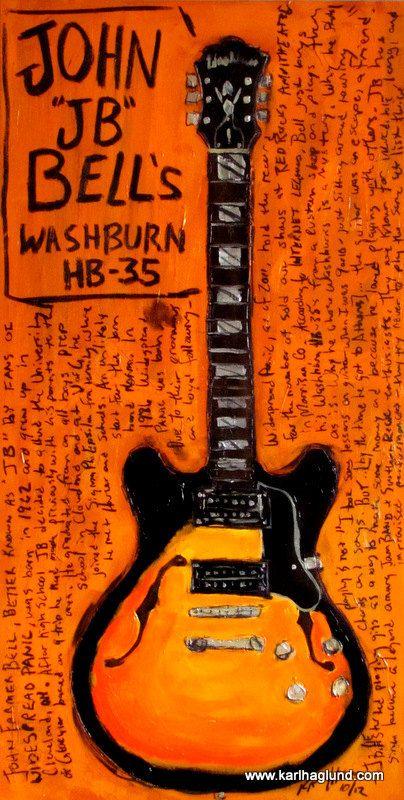 John JB Bell Washburn electric guitar art print. $20.00, via Etsy.