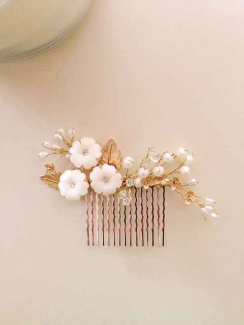 Bridal hair comb fascinator crystals gold and pearls by amuandpri, $65.00