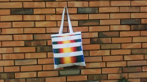 Rainbow strippes hand painted tote canvas bag by CatAndBirdStudio, rainbow, colorfull bag