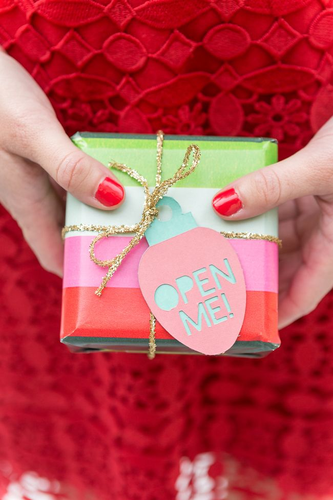 Spruce up your holiday gifts with our easy DIY ornament shaped gift tags! By Coastal Bride