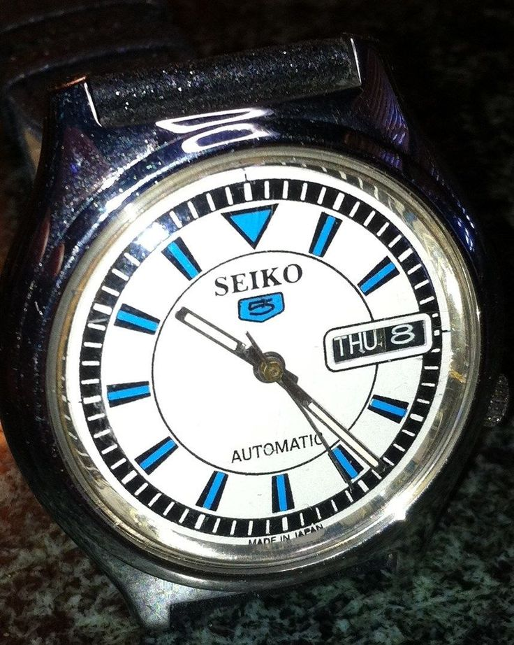 SEIKO 5 WATCH 7S26-7030 SKX013 AUTO DAY DATE 21J WHITE FACE BLACK LEATHER BAND