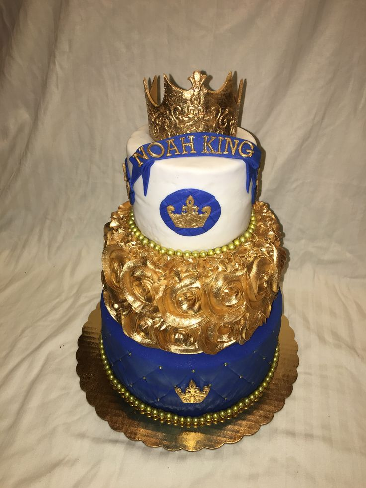 Prince Gold Crown Boy Baby Shower Cake By Inphinity