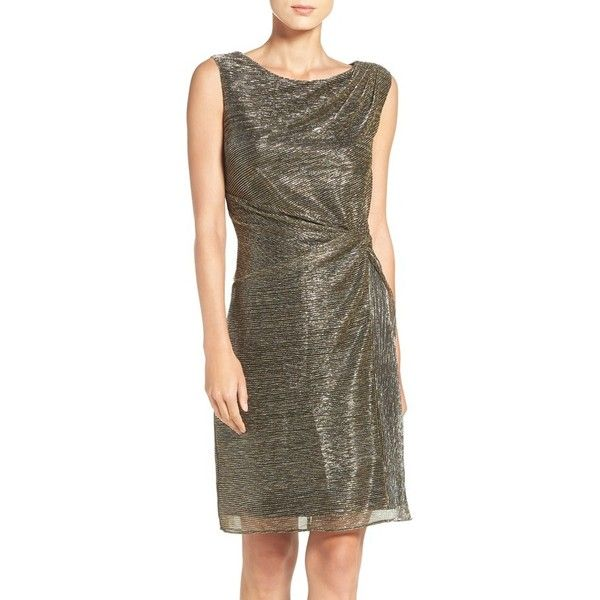 Women's Ellen Tracy Metallic Knit Sheath Dress ($118) ❤ liked on Polyvore featuring dresses, gold, night out dresses, brown cocktail dress, cocktail party dress, draped dress and brown knit dress