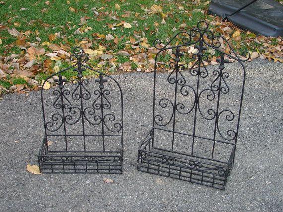 Wrought Iron Trellis Style Planter Boxes