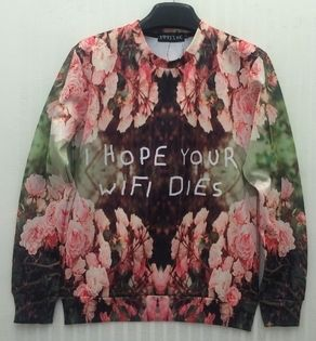 Find More Hoodies & Sweatshirts Information about 2014 New 'i hope your wifi dies' flowers printed men / women long sleeved 3d Sweatshirt Novelty creative jacket 3D ,High Quality jacket pattern,China jacket camel Suppliers, Cheap sweater short from Fashion outlet  Ltd. on Aliexpress.com