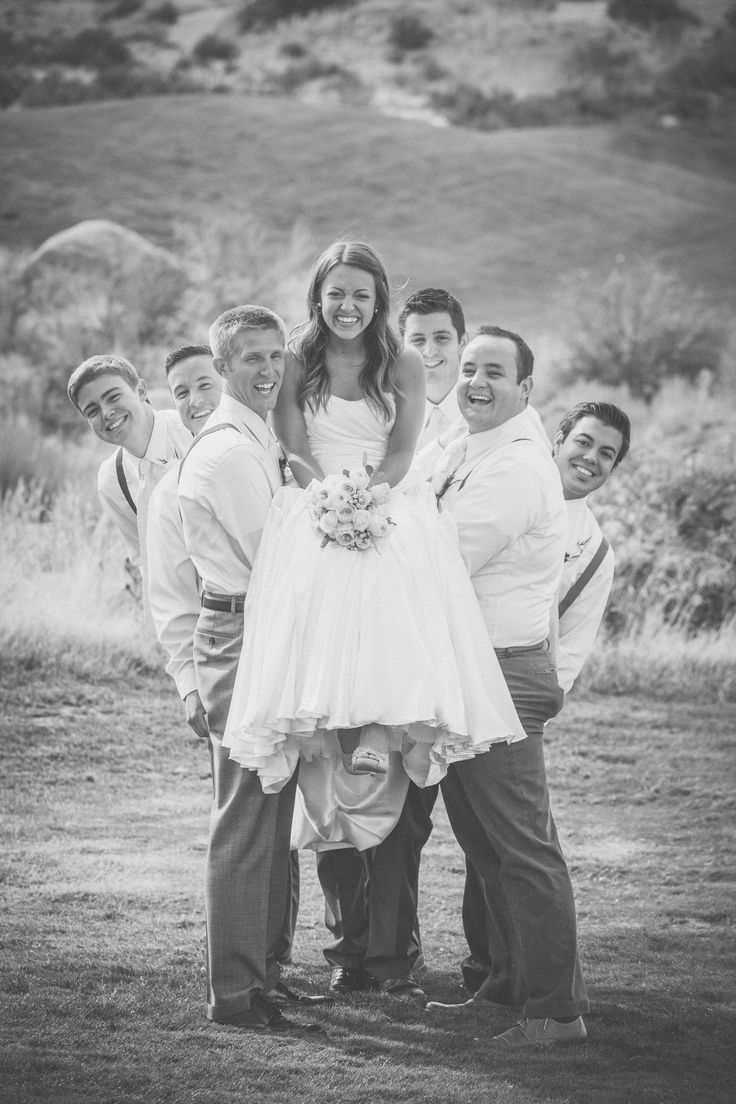 "I thought this would be a fun pic for a ""Bride with groomsmen"" shot"