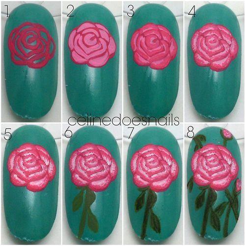Uñas decoradas con hermosas rosas - http://xn--decorandouas-jhb.com/unas-decoradas-con-hermosas-rosas/