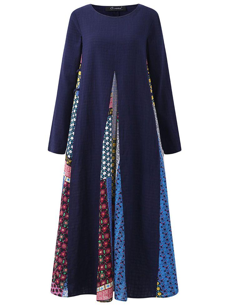O-NEWE Vintage Women Printed Stitching Long Sleeve Dress