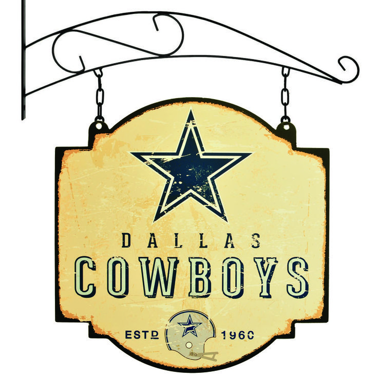 "This 16"" x 16"" metal sign is printed on both sides with Dallas Cowboys logos and has been made to look like an old fashioned tavern sign. It comes with a bracket that allows the sign to be hung, or you can ignore the bracket and affix the sign directly to a wall."