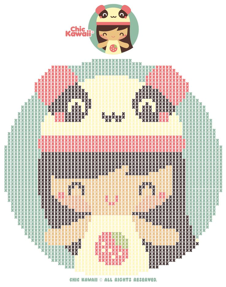Chic Kawaii Cross Stitch Pattern