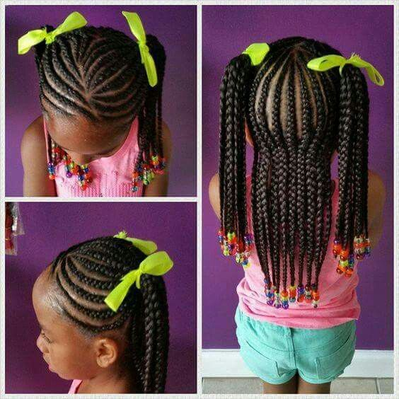 Little Girl Natural Hair Pony Tails Braided Cornrows
