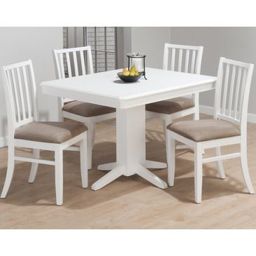 Jofran aspen rectangle pedestal dining table in white 625 44 dt from