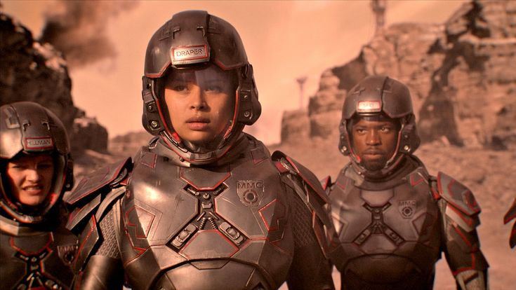 "THE EXPANSE -- ""Safe"" Episode 201 -- Pictured: (l-r) Frankie Adams as Bobbie Draper, Dewshane Williams as Corporal Sa'id -- (Photo by: Syfy)"