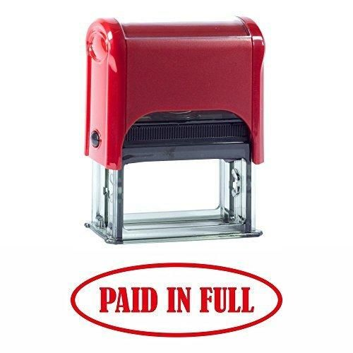 PAID IN FULL Self-Inking Office Rubber Stamp (Red) - M