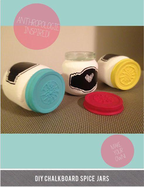 Chalkboard Spice Jars via Holly Would Blog #DIY #organizationBaby Food Jars, Jars Crafts, Chalkboards Painting, Chalk Boards, Diy Organic, Spices Jars, Puff Painting, Chalkboards Spices, Painting Jars