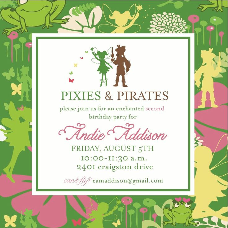 Pixies and Pirates Party Invitation. $16.00, via Etsy.