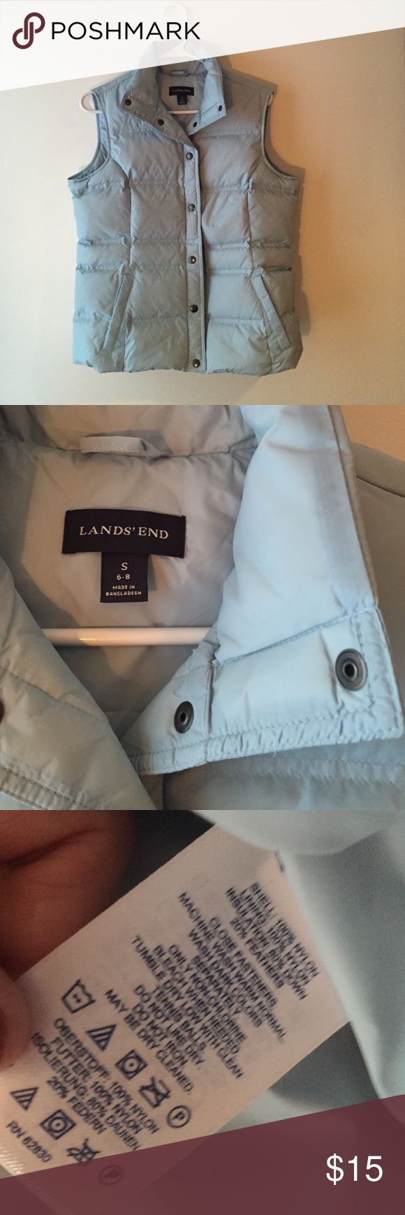 1 day sale! Lands End puffer vest ⛄️ EUC baby blue Lands End puffer best with down filling, so comfy, warm, and light! ⛄️ Lands' End Jackets & Coats Vests