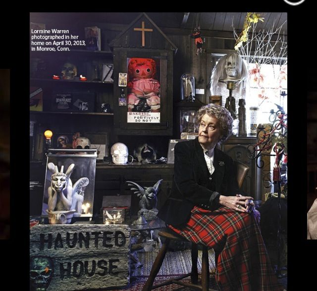 """The Conjurings"" real life Lorraine Warren at her occult museum. Notice the real possessed ""Annabelle doll,"" locked up behind her. (Very good movie by the way)"
