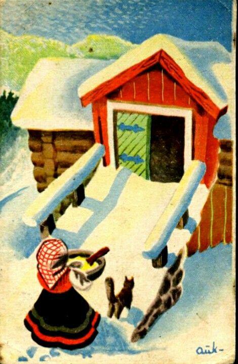 Julekort Kjell Aukrust R
