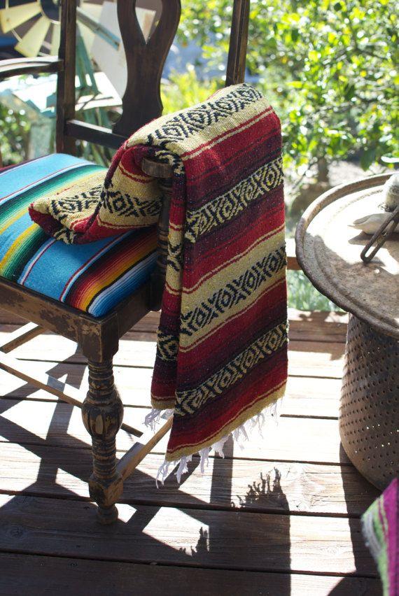 Mexican Falsa Blanket Beach Yoga Baja Red by CALIFORNIAPONCHO