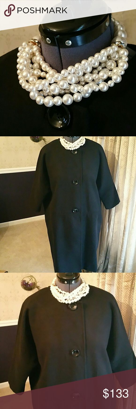 SPIEGEL Audrey Hepburn Quarter Length Sleeve Coat I ACCEPT OFFERS! I NEVER DECLINE OFFERS! I ACCEPT OR COUNTER ONLY!   NWT....Classic Fashion Statement Black Quarter Length Sleeve Coat.  FREE Oval Necklace with purchase. Full Lining.  Size: 10  Material: 35% Acrylic 65% Polyester   Some items are in New Condition and others in Newly-Used Condition.  Washed items have been washed but Dry Ckean Only needs Dry Cleaning. The clothing have been fully Inspected and ready for shipment.  If I missed…