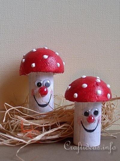 Fall Craft for Kids - Recycling Craft - Cork Mushrooms