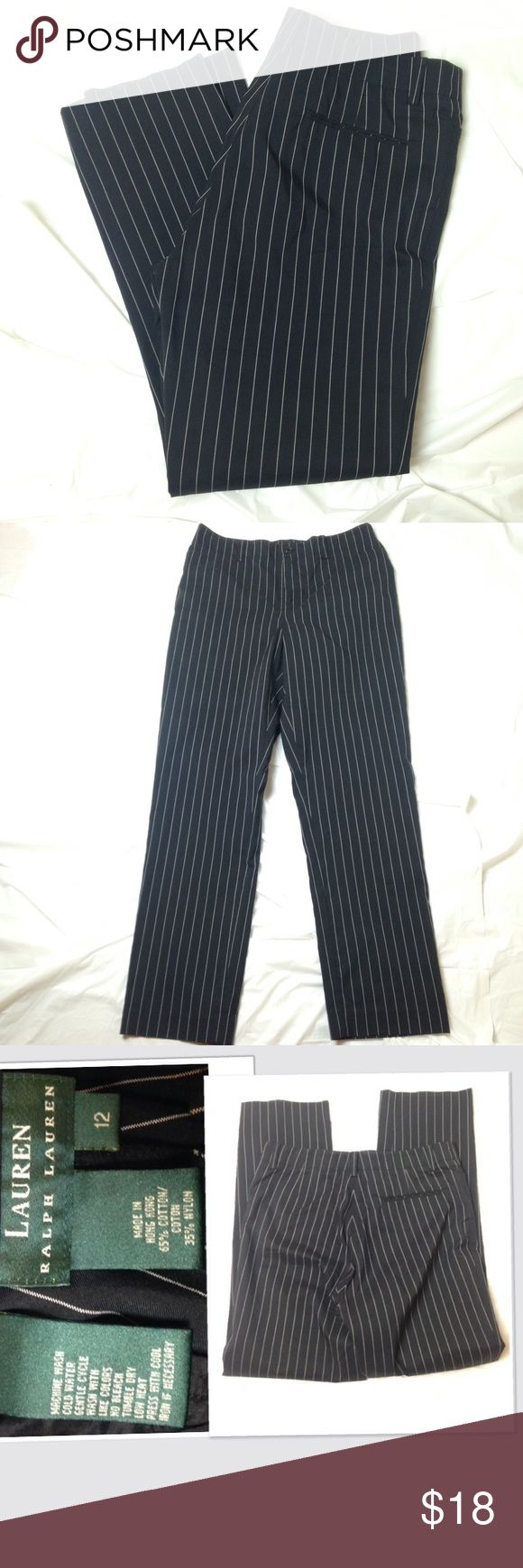 Ralp Lauren pinstripes pants sz 12 These pants measures almost 17 inches in the waist laying flat and is 31 inches long.  In great condition .  Pants are clean...I will ship fast. Lauren Ralph Lauren Pants Straight Leg