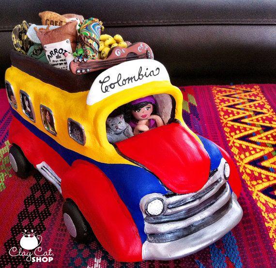 BUS Folk Art - Colombian CHIVA by ClayCatShop™