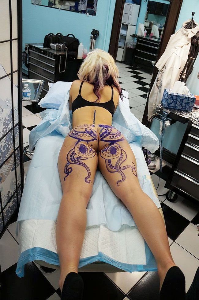 Girl with octopus tattoo on butt