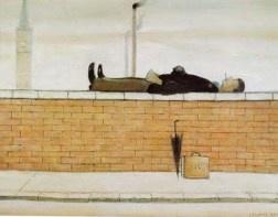 Man Lying on a wall. LS Lowry.