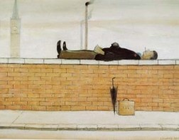 Man Lying on a wall. LS Lowry.